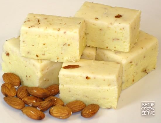 """Almond Barfi:  """"Almond barfi is a delicious sweet ideal during celebrations. Welcome guests home with these barfi.""""  - See more at: http://www.shopcookserve.com/recipe/Almond-Barfi/3685"""