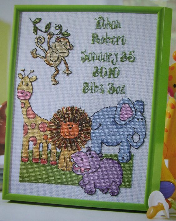 Crochet Patterns Jungle Animals : SAFARI BABY SAMPLER, Cross Stitch Pattern, CUTE JUNGLE ...