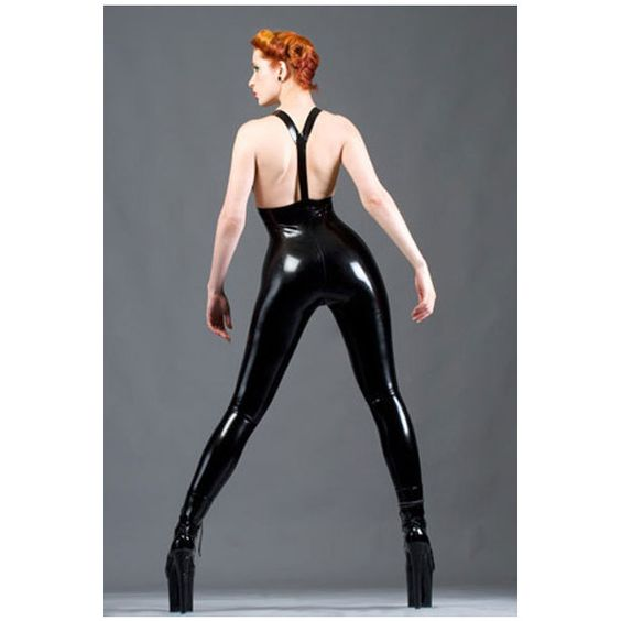Lady Lucie Latex Longline Leggings & Braces (¥27,710) ❤ liked on Polyvore featuring pants, leggings, black, women's clothing, high waisted black pants, high waisted trousers, high waisted leggings, latex leggings and long pants