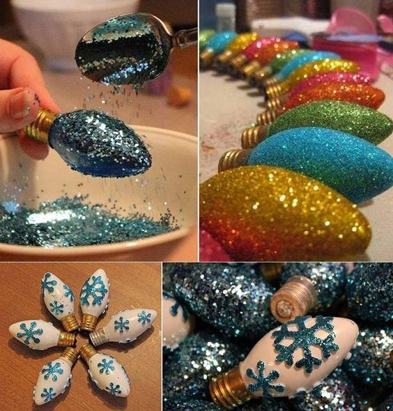 DIY Glittered Christmas Light Bulb Ornaments: