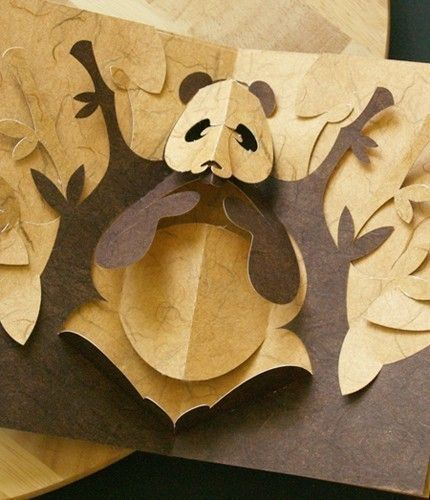 kirigami panda pop up card make yourself on etsy paper crafts pinterest beautiful. Black Bedroom Furniture Sets. Home Design Ideas