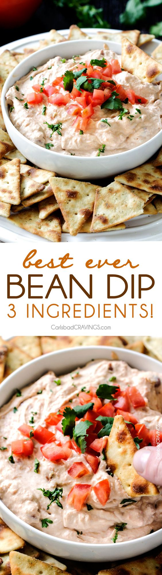 3 Ingredient Best EVER Bean Dip is the easiest and tastiest bean dip you will ever make! you need this in your party back pocket!