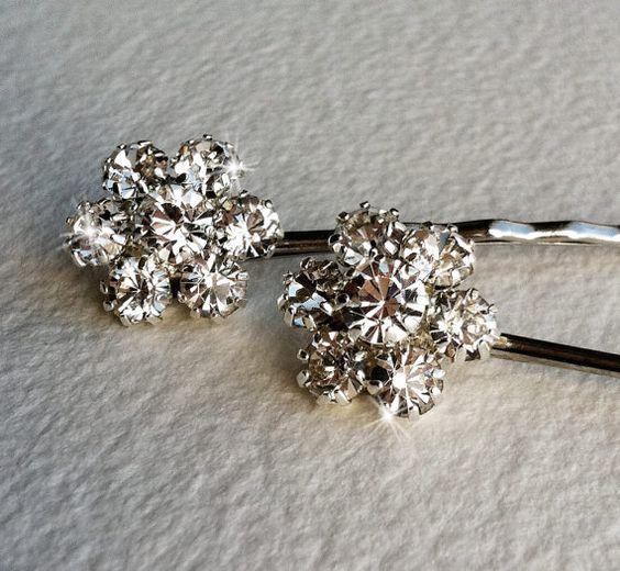Silber Bridal Strass Blume Haarnadeln 2 pc - Braut Silber Haar…