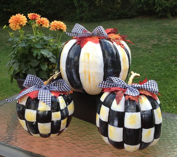 Black & White Checked Striped Hand Painted Pumpkins