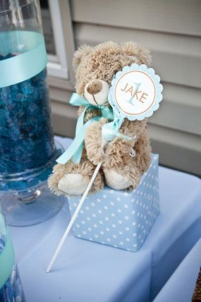 Jake's Orange and Blue Polka Dot First Birthday Party