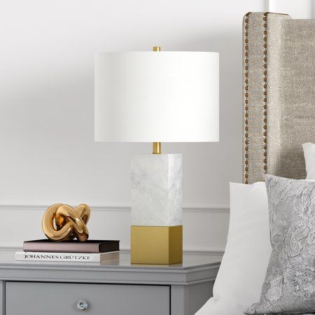 Lena table lamp in Carrara style marble and brass, Gold