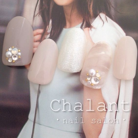 ネイル 画像 Chalant 1128701 ベージュ ピンク ホワイト モノトーン グレー パール マーブル ワンカラー ラメ オフィス パーティー