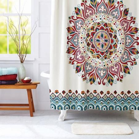Better Homes and Gardens Medallion Fabric Shower Curtain | Gardens ...