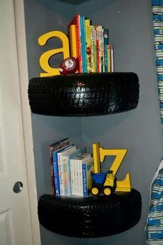 Tire book shelves for my toddler's puppy dog and pick up truck room