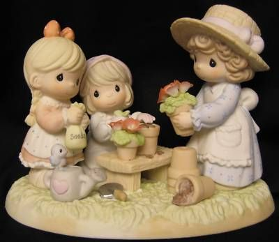 Precious Moments Planting The Seeds of Love Mom with Two Girls Gardening 101548 | eBay
