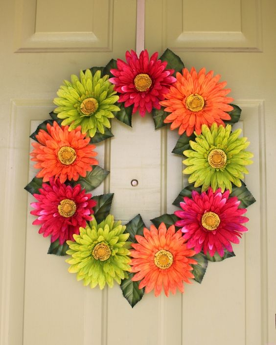 Gerber Daisy Wreath. It makes me happy just looking at it!