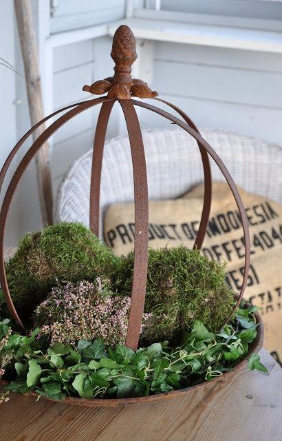 garden sphere, planter, ivy, moss