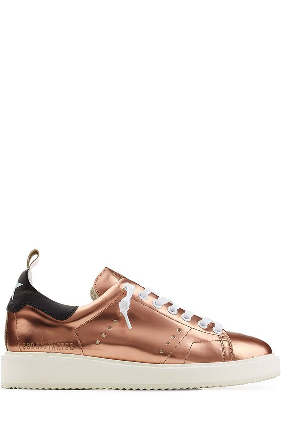 GOLDEN GOOSE Metallic Leather Starter Sneakers. #goldengoose #shoes #sneakers