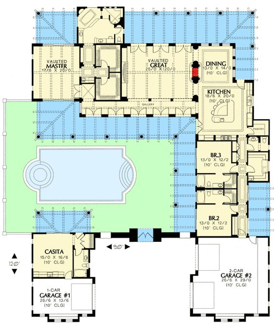 Vaulted ceilings courtyards and butler pantry on pinterest for Southwest house plans with courtyard