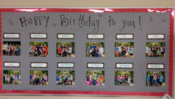 All year long bulletin board idea! Took outside pic of grade level bdays and displayed them on bulletin board for bday months! Super Cute!