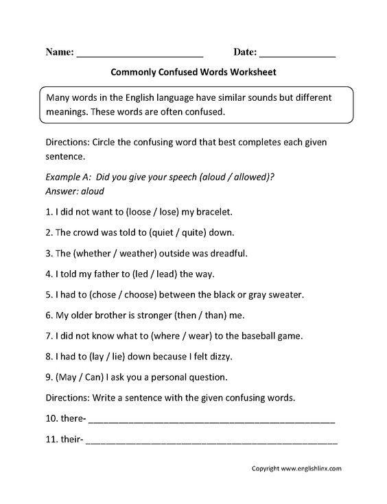 Commonly Confused Words Worksheets | Englishlinx.com Board ...