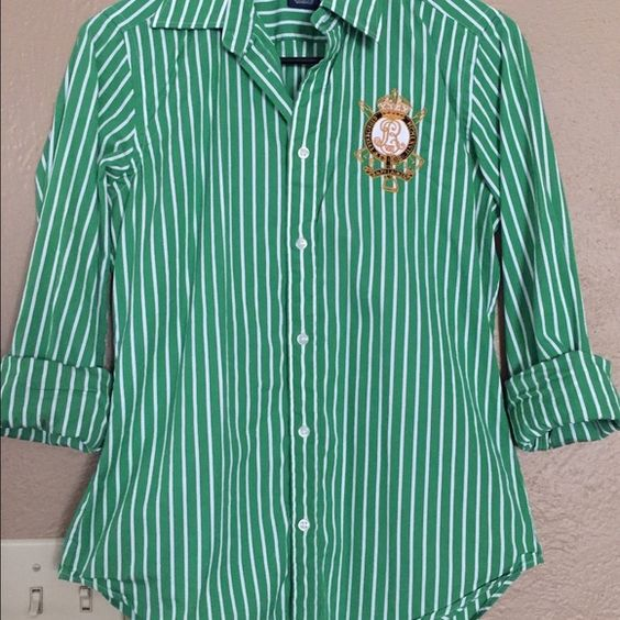 Raulph Lauren Striped button down Size 8/M, slimming fit, worn a handful of times. Ralph Lauren Tops Button Down Shirts