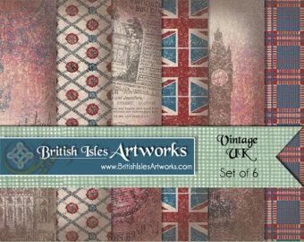 Vintage UK Digital Scrapbook Paper Pack, Great Britain England British English Union Jack Flag Set of 6, 12x12 Plaid Tartan Grunge jpg files