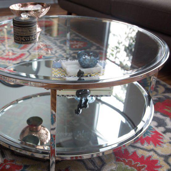 Belham Living Lamont Round Coffee Table Chrome Round Coffee