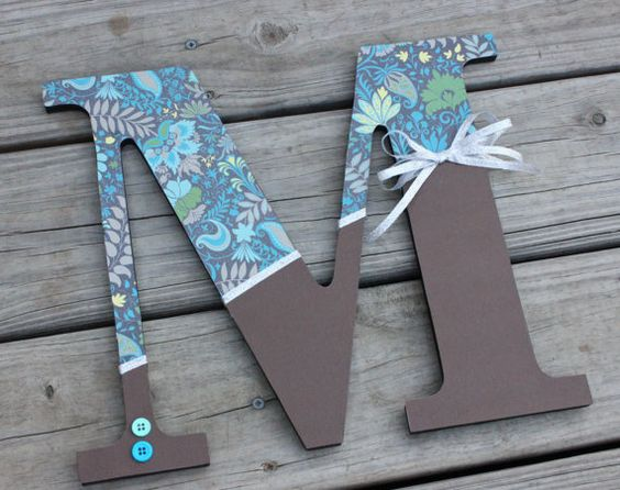 Custom Wooden Letters Wall Hanging 12 Inch Teal Blue And