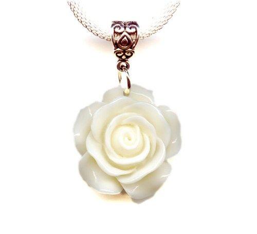 White Rose Flower Bright Silver Mesh Choker Pendant Necklace 16-18 Inc | moonpixie - Jewelry on ArtFire