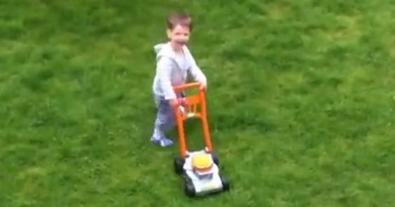 When It Was Time To Mow The Lawn, This Little Boy Couldn't Wait To Help His Dad
