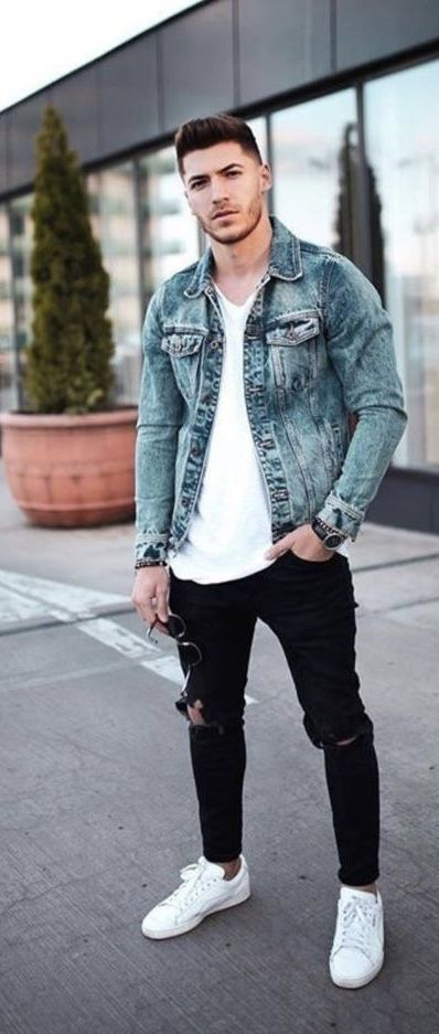 Fall Combo Inspiration With A Light Wash Jean Jacket White T Shirt Black Ripped Denim No Sho Jean Jacket Outfits Men Sneakers Outfit Men Black Shirt Outfit Men
