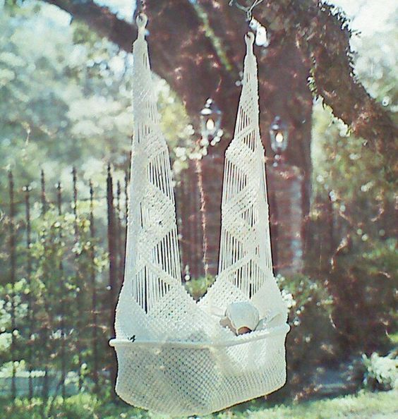Vintage macrame cradle swing pattern by mamaspatterns on for Diy macrame baby swing