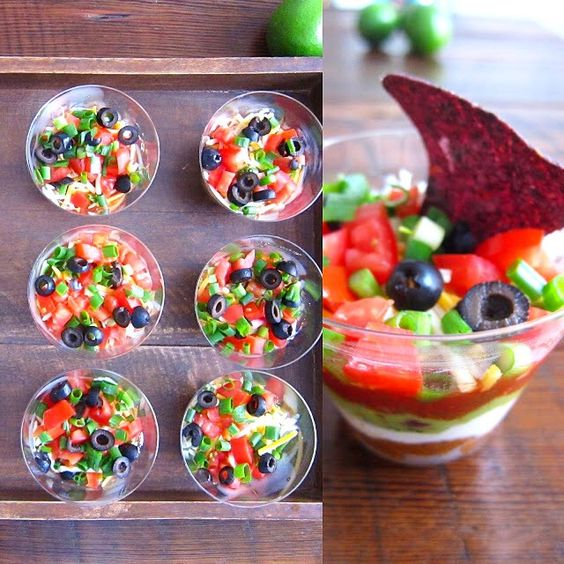 """Happy Cinco de Mayo! Individual seven layer dip recipe on my blog under my """"FOOD"""" tab. Have a great day!"""