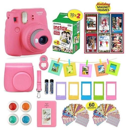 Flylther Compatible Mini 8 9 Camera 8-in-1 Accessories Bundles Set for Fujifilm Instax Mini 8 9 Instant Film Camera Case,Albums,Frames,Film Stickers,Colored Filters,Selfie Lens White Flower