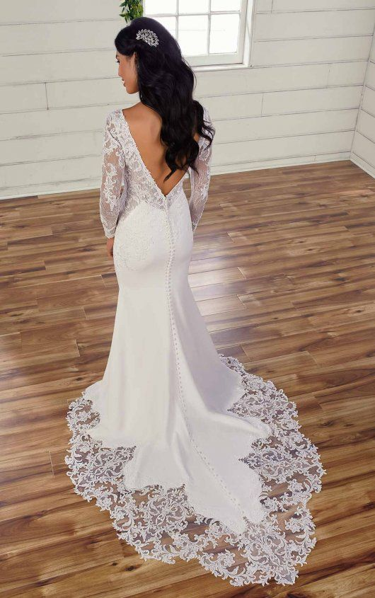 Vintage Inspired Wedding Dress With Long Sleeves In 2020 Wedding Dresses Kleinfeld Fit And Flare Wedding Dress Dream Wedding Dress Lace