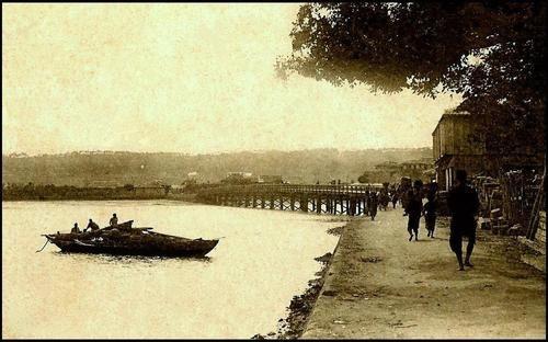 Late Meiji-era On the south side of Meiji Bridge in Old Naha in Okinawa