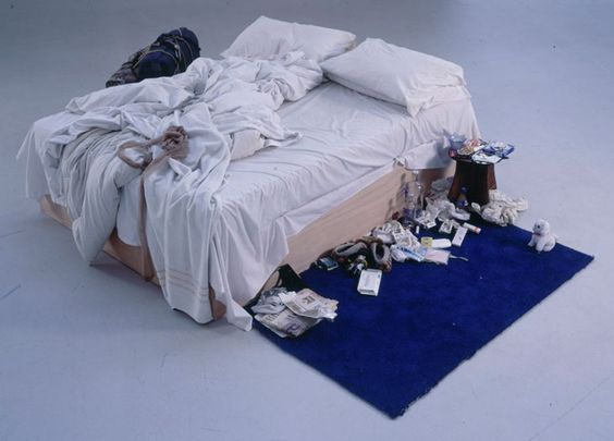 Tracey Emin: My Bed (1998): Tracey shows us her own bed, in all its embarrassing glory. Empty booze bottles, fag butts, stained sheets, worn panties: the bloody aftermath of a nervous breakdown. By presenting her bed as art, Tracey Emin shares her most personal space, revealing she's as insecure and imperfect as the rest of the world.: