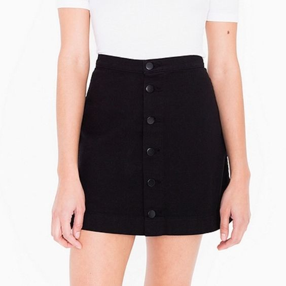 Black Denim Button Front Skirt