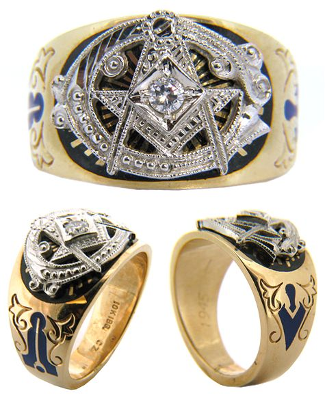 10kt Yellow Gold Masonic Blue Lodge Diamond Ring Blue Lodge Masonic Rings Masonic Jewelry Masonic Ring