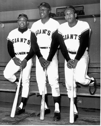 "Willie Mays, Willie McCovey, and Orlando Cepeda. Classic Giants...The ""Say Hey Kid"", ""Stretch"", and ""Baby Bull"" altogether. Many home runs in that trio."