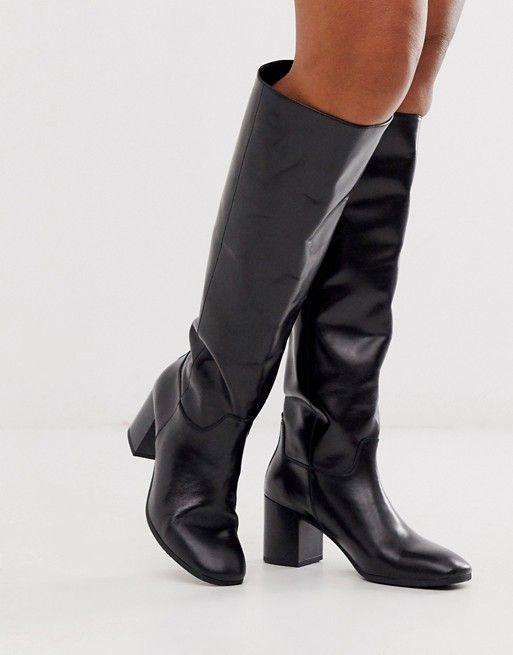 Vagabond Nicole Black Leather Kitten Heel Knee High Boots Asos Black Leather Knee High Boots Boots Nicole Boots