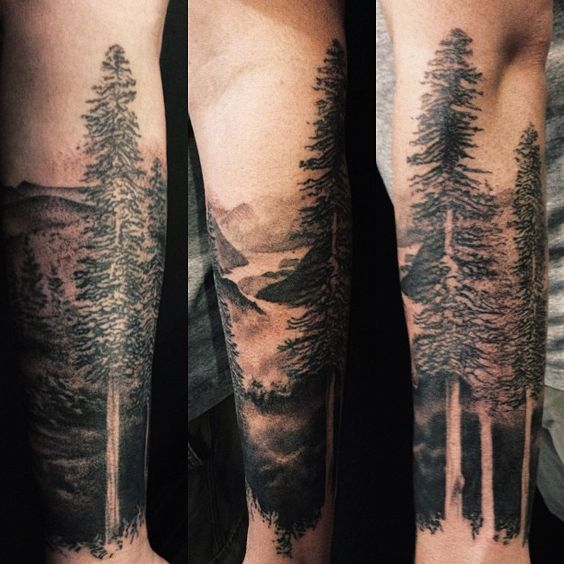 Forest Black And White Tattoo