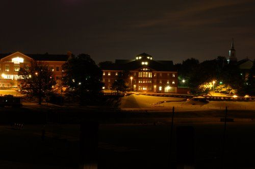 McDaniel College at night- Hoover library with Academic hall on left, Big Baker on right. Photo taken from across the football field.