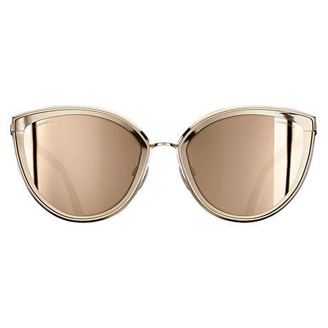 Buy Chanel Cat Eye Sunglasses Ch4222 Gold Online At Johnlewis Com Cat Eye Sunglasses Sunglasses Chanel