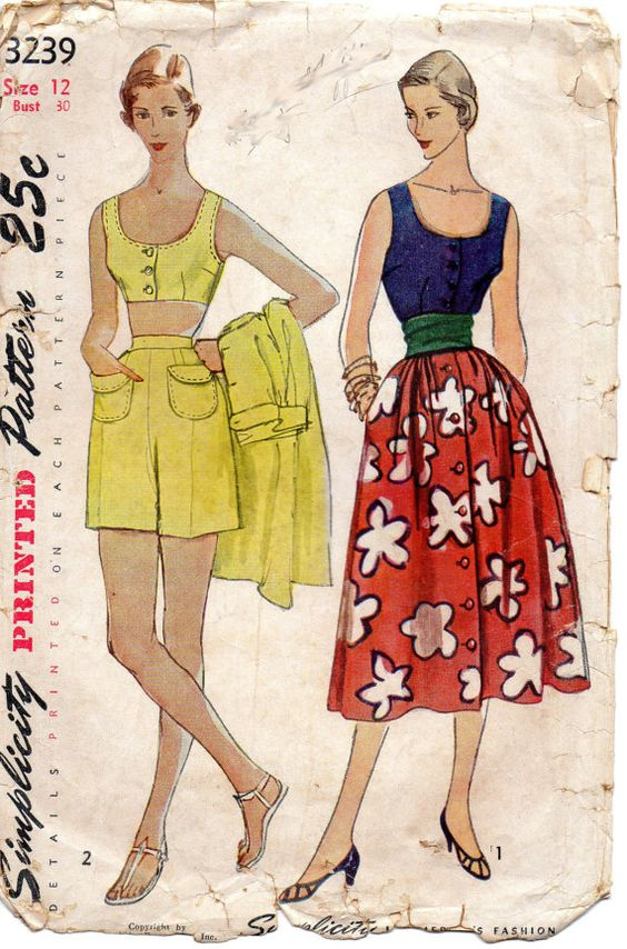 Simplicity 3239 1950s Misses  Button Front Bra Top Blouse Shorts and Full Skirt womens vintage sewing pattern  by mbchills