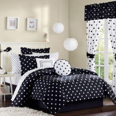 Black and White Polka Dot Reversible Comforter   Paris Boudoir ...
