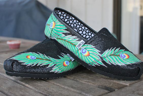 black glitter peacock feather shoes from #blakebarash via #etsy #TOMS $149.00