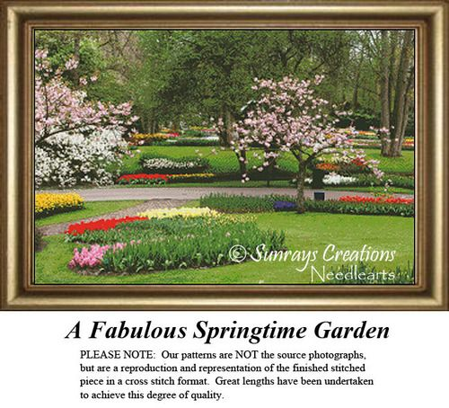 Alluring Landscapes Cross Stitch Patterns A Fabulous Springtime Garden Landscapes Cross Stitch Pattern Land Cross Stitch Patterns Spring Time Cross Stitch