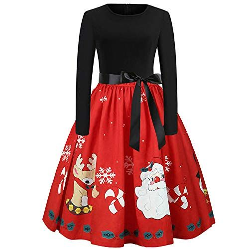 Happy Christmas Party Women Dress Ladies Swing Xmas Jumper Evening Santa Snowman