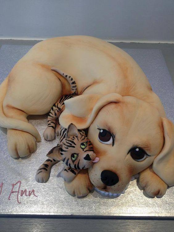 puppy dog w/cat cake............