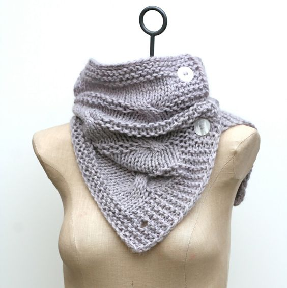 "Cowl in silver/ tray like beige listed as 14.5"" top to bottom & 24"" long and makes a circumference of 22"" when buttoned. LOVE"