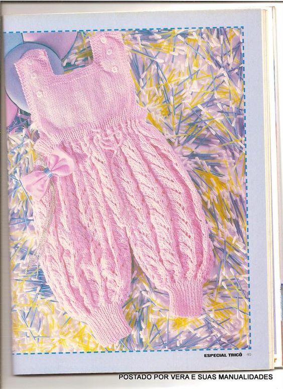 Olá amigas(os)!!   Vejam que lindinho esse macacão em trico   para bebes!!   Para uma pequena rainha!!           Receita AQUI   Bjo   Verax...