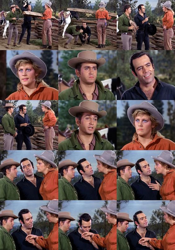 Hoss has gone missing, so Adam and Little Joe mosey over to Bessie Sue's ranch to inquire after his whereabouts. Bessie Sue huffs that she hasn't seen hide nor hair of him and that he'd better keep his promise to escort her to the dance on Saturday, or she'll skin him with a dull knife. Adam assures her that he will relay the message to Hoss and then (somewhat mockingly) kisses the brawny gal's hand. From Any Friend of Walter's (Bonanza)