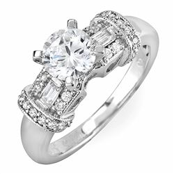 1.49 carat Round Cut Diamond Engagement Ring in 18k White Gold